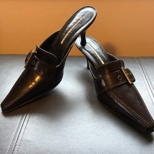 Donald Pliner Chocolate Brown Patent Leather Mules